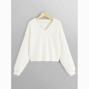 Cozy Oversized Teddy Loose Crop Sweater Pullover